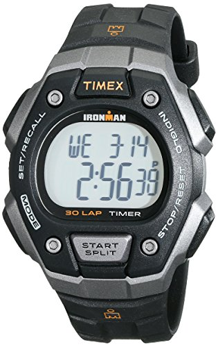 Timex Men's T5K821 Ironman Classic 30 Black/Orange Resin Strap Watch