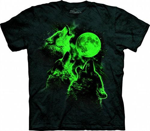 The Mountain Three Wolf Moon Glow Adult T-Shirt, Black, -