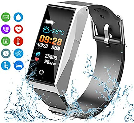 MATEYOU MATE1 Fitness Tracker with Heart Rate & Blood Pressure Monitor for iOS & Android, Waterproof Activity Tracker with Sleep Monitor & Alarm, smartwatch with Calorie & Step Counter (Silver)