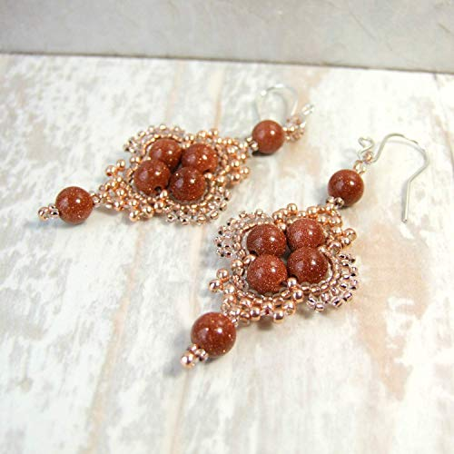 (Brown Goldstone Boho Beaded Dangle Earrings - Handmade Sterling Silver Statement Jewelry for Women - Gifts for Her)