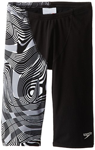 Speedo Big Boys' Scoubidou Youth Jammer Swimsuit, Black/White, 22