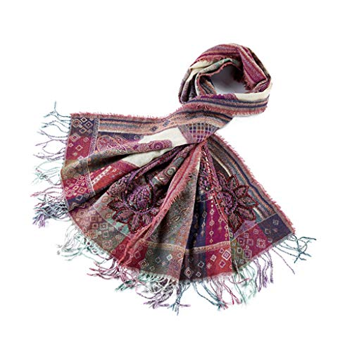 (Stoles Scarf Cashmere Scarf Autumn and Winter Warm National Wind Scarf India Handmade Embroidery Beads Shawl Boiled Wool Shawl (Color : Purple, Size : 19070cm))