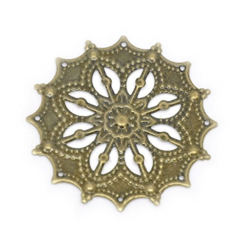 Housweety Bronze Filigree Flower Connectors