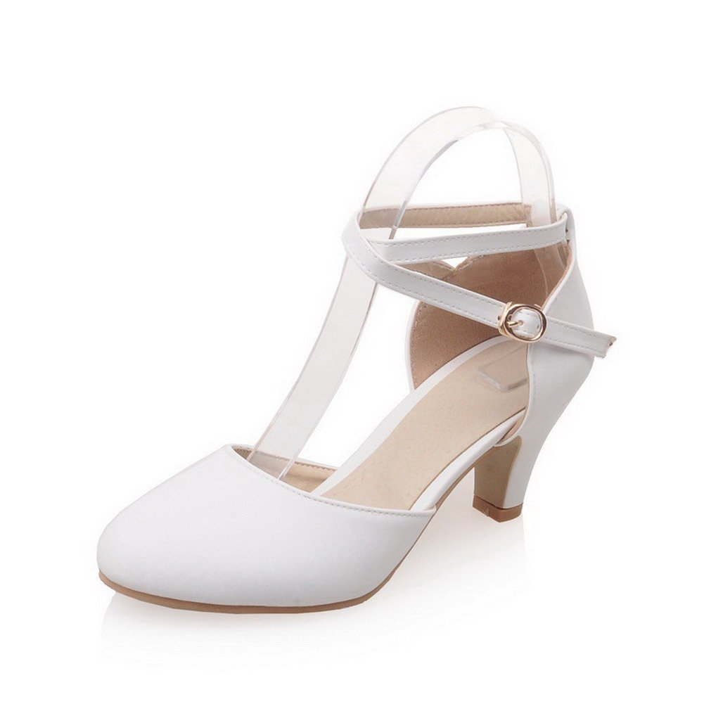 AmoonyFashion Women's Pu Solid Buckle Round Closed Toe Kitten Heels Pumps Shoes, White, 34 by AmoonyFashion