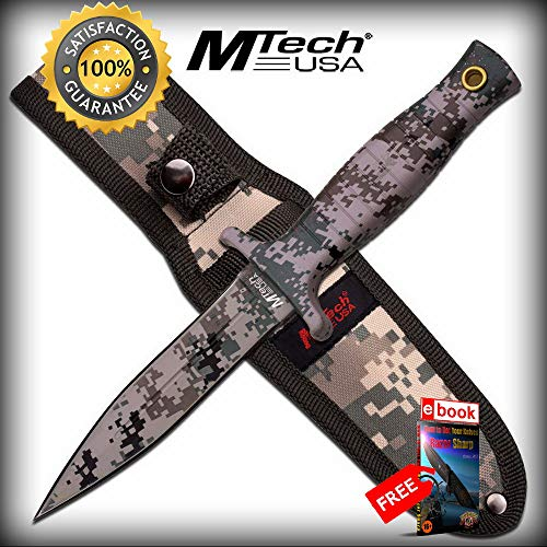 Mtech Army Digital Camo Double Edge Combat Defense FIXED BLADE SHARP KNIFE, Sheath Combat Tactical Knife + eBOOK by Moon Knives