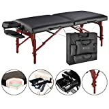 Master Massage 31'' Montclair Professional Portable Massage Table Package with MEMORY FOAM Layer -Black