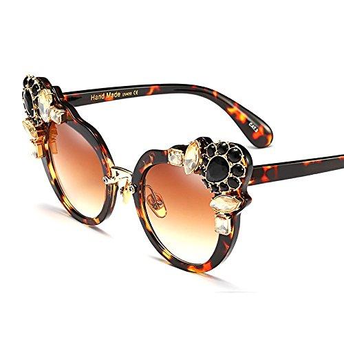 Moda leopard Sexy De Uv400 Mujer Con De Cristal Ojo De Verano De Mujeres De De Para Claro Gafas Sol Gato La Marrón De TIANLIANG04 Gafas Ojo Gato Lujo pwq56