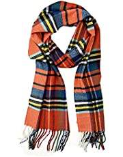 Plum Feathers Super Soft Luxurious Cashmere Feel Winter Scarf (Black-Red Plaid)