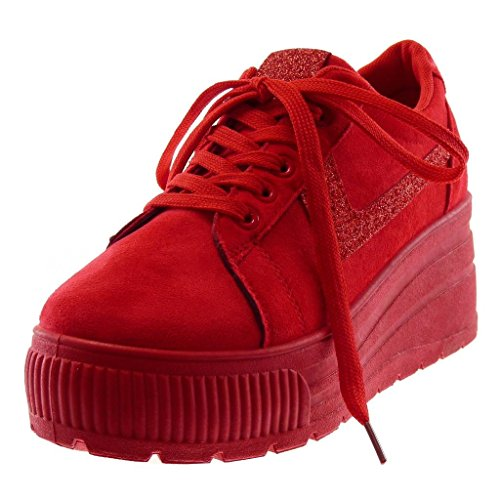 Femme Compensée 6 Paillettes Basket Mode Talon Chaussure 5 Cm Brillant Plateforme Angkorly Tennis Sporty Chic Rouge Compensé H8Upwx