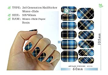 5 Sheet, Water Transfer Nail Art Sticker Blue Plaid Design Manicure Styling  Tools Nail Wraps