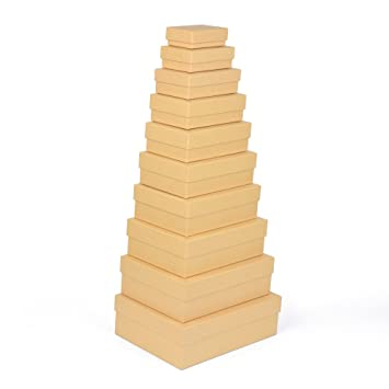 Cajas de regalo, pack de 10 unidades, material estable recubierto de fino papel kraft