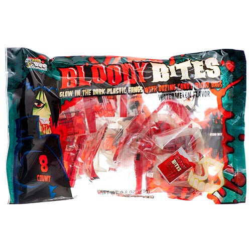ZOZO New 377286 Hh Bloody Bites Candy W/Fang 8Ct 2.8 Oz (24-Pack) Halloween Wholesale Bulk Seasonal Halloween Fish Bowl]()