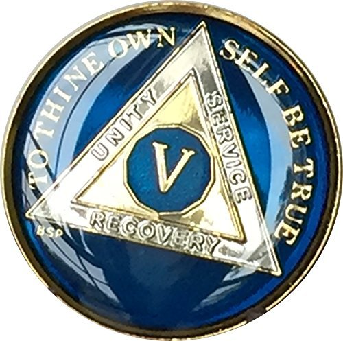 5 Year Midnight Blue AA Alcoholics Anonymous Medallion Chip Tri Plate Gold & Nickel Plated Serenity Prayer