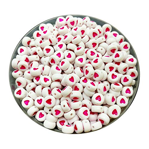 iZasky Heart Pattern Beads 7mm 100Pcs - Acrylic Bead White Flat Round Shape Love Hearts for Making Key Chain, Bracelets, Necklaces and Jewelry (Pink)