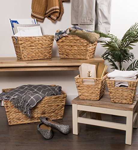 """DII Natural Water Hyacinth Storage Basket with Handles, Beige - SET OF 5 BASKETS: Includes two small (9x7x6""""), two medium (11x9x7""""), and one large (12.6x9x7.88"""") hyacinth baskets HAND-WOVEN: These baskets are hand-woven for that unique charm, so actual sizes may vary slightly SUFFICIENT STORAGE WITH STRONG CONSTRUCTION: Hyacinth storage baskets have a strong woven design with carrying handles for easy carrying - living-room-decor, living-room, baskets-storage - 51ZEr0h0yUL -"""