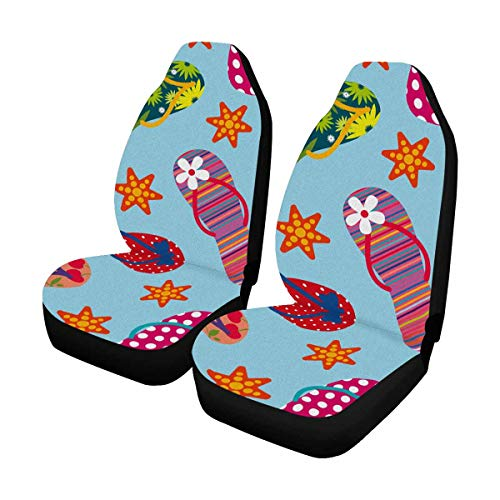 - INTERESTPRINT Summer Starfish Flip Flops Auto Seat Protector 2 Pack, Bucket Seat Protector Car Seat Cushions for Car, SUV, Truck or Van