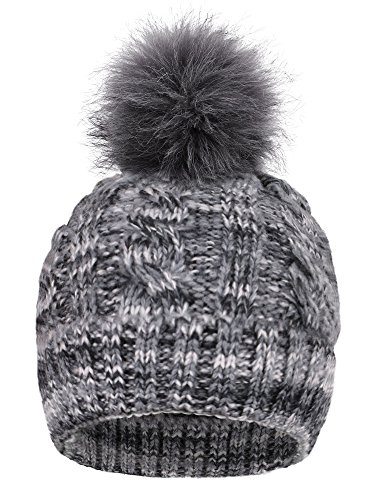 EPGU Women's Heathered Cable Knit Pom Pom Beanie Hat With Sherpa Lined, Mix Grey (Sherpa Beanie Lined)
