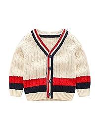 Wellwits Kids Stripe Cable Knit Button School Uniform Cardigan Sweater 2-8 Years