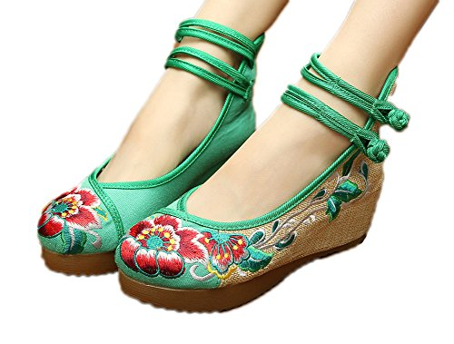 AvaCostume Women's Embroidery Floral Strappy Round Toe Platform Wedges Cheongsam 41 Green