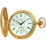 Woodford Swiss-Made Mechanical Half-Hunter Pocket Watch, 1015, Men's Deep Gold-Plated Separate Second-Hand Dial with Chain (Suitable for Engraving)