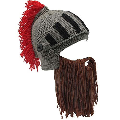 Flyou Beard Hat Roman Knight Helmet Visor Cosplay Knit Beanie Hat Cap Wind Mask -