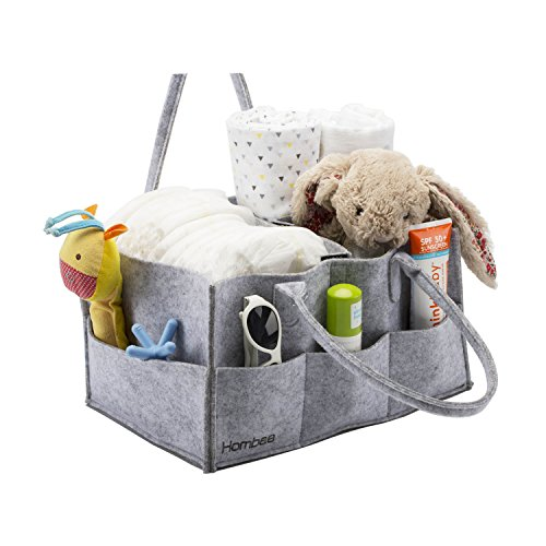 Baby Diaper Caddy By Hombae - Portable Nursery Storage Bin, Foldable Diaper Stacker With Changeable Compartments