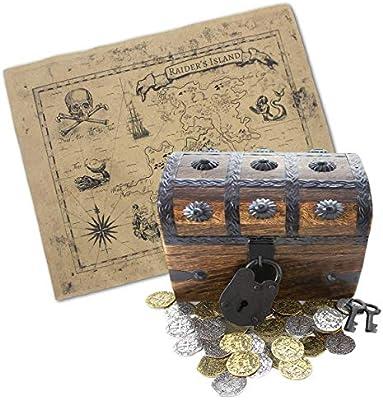 Buen Pack Caja Pirata Treasure Chest Relleno con 32 Monedas de Metal y una Caja Decorativa de Mapa: Amazon.es: Hogar
