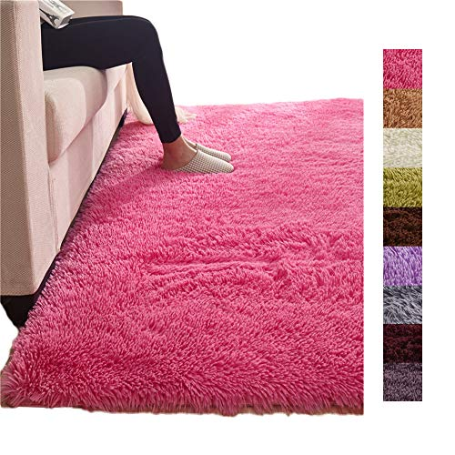 (Tatami Solid Rose Red Fluff Floor Decoration Mat, Soft Luxury Anti-Skid Sofa Side Carpet Living Room, Bedroom, Bay Window Area Rug)