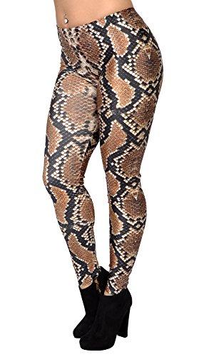 BadAssLeggings Women's Boa Constrictor Snakeskin Leggings Large Brown -