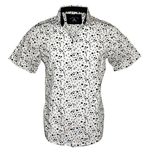 Rock Roll-n-Soul Men's Short Sleeve Music Note Casual Button up Fashion Shirt White RRMW237SS (L) -