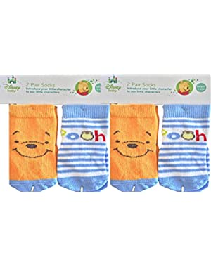 Baby Winnie The Pooh Socks Infant 3-12M Pack Of 4