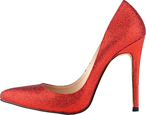 CFP YSE-302-1XS Womens Sweet Various Colors Sexy High Slim Heel Abrasion Resistant Shoes Shallow Mouth Breathable Charming Party Vogue Lovely Nimble Delicate Wedding Slip On Handmade Red SWDa9
