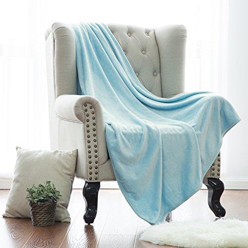Flannel Fleece Blanket Lt Blue Throw Lightweight Cozy Plush