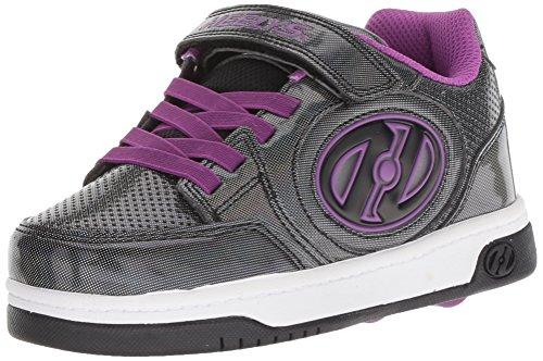 Heelys Girls' Plus X2 Tennis Shoe, Black Sparkle/Purple, 12c Medium US Little Kid (X2 Skate Shoes)