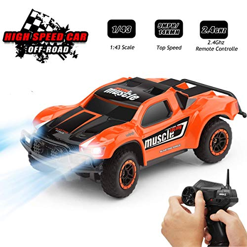 Toys for 6-12 Year Old Boys Byserten Remote Control Car RC Cars with LED Lights High Speed Racing 2.4 GHz Wrieless Controlled 1:43 Scale Off-Road Vehicle RC Trucks Best Gift for Kids Orange Christmas