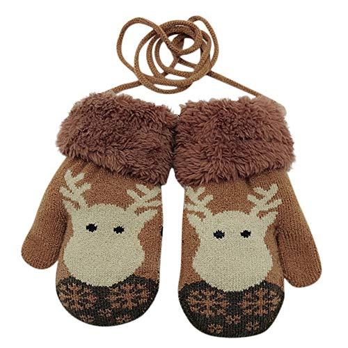 Euone  Gloves, Toddler Christmas Mittens Baby Winter Cartoon Deer Gloves Velvet Knitted Gloves (Coffee)