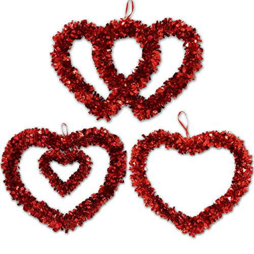 Wreath Hanging Decoration (3 Pack 12 inch Heart Valentine Wreath Decorations for Kitchen Lawn and Patio Holiday Outdoor Decor, Heart Shaped Wedding Wreaths, by Gift Boutique)