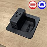 3 AC Power Outlets with 1 CAT6 Ethernet RJ45 Data Port + 1 USB Charging Ports - 2.4 Amp Fast Charger - Flip Top Swivel Power Center - Black