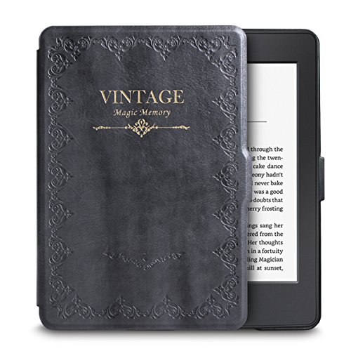 WALNEW Amazon Kindle Paperwhite Retro Book Style Case Cover Ultra Lightweight Leather Smart Cover New Kindle Paperwhite Fits versions: 2012, 2013, 2014, 2015, Gray