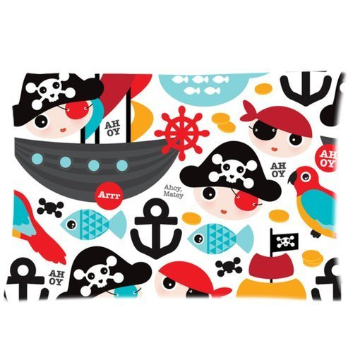 Cute Kids Pirate Ship and Parrot Illustration Pattern Zippered Pillow Cases 16x24(two - Cute Pirate