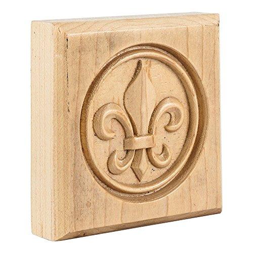 Box of 10- Hard Maple- Fleur De Lis Rosettes 3-1/2