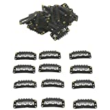 Geoot Snap Clips 50pcs U-shape Metal Clips for Hair Extensions DIY (Black)
