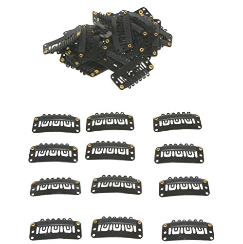 Geoot Snap Clips 50pcs U-shape Metal Clips for Hair Extensions DIY (Black) (Cheap Good Quality Hair Extensions Clip Ins)