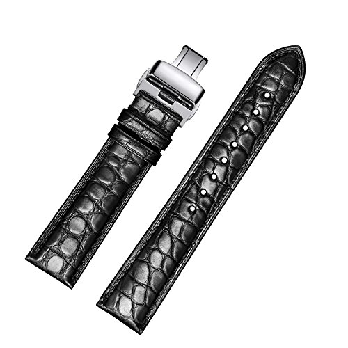 EHHE ZPF Alligator Replacement Leather Watch Band With Deployment Buckle for Men and Women (Black Genuine Alligator)