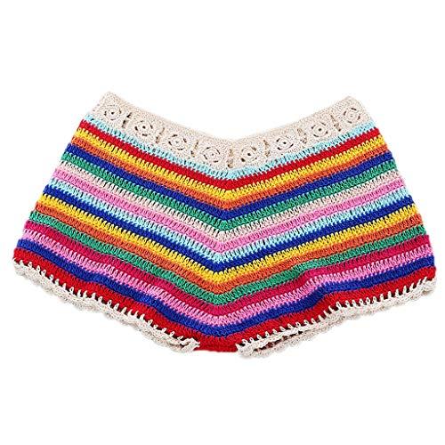 VIccoo Womens Sexy Bohemian Rainbow Handmade Crochet Knitted Bikini Set Drawstring Lace Up Bandeau Tube Top Shorts Beach Swimsuit - B# - M