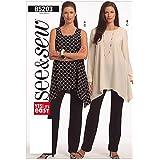 Butterick Patterns B5203 B Taille 40–45, 7 20–22 couture de tuniques et Pantalons pour femme Blanc