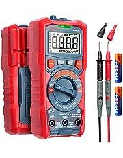 Multímetro digital AstroAI, 4000 unidades TRMS de Rango Automático de Voltímetro de 1,5 V/9 V/12 V, Medidor de Voltaje de la Batería, Voltímetro de Corriente, Diodos de Resistencia, Voltímetro de Continuidad con Función de Voltaje Sin Contacto