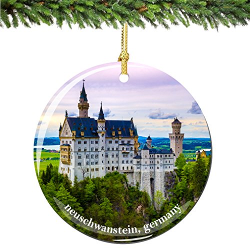 City-Souvenirs Neuschwanstein Germany Christmas Ornament, Porcelain 2.75 German Castle Christmas Ornaments (Best German Cities For Christmas)