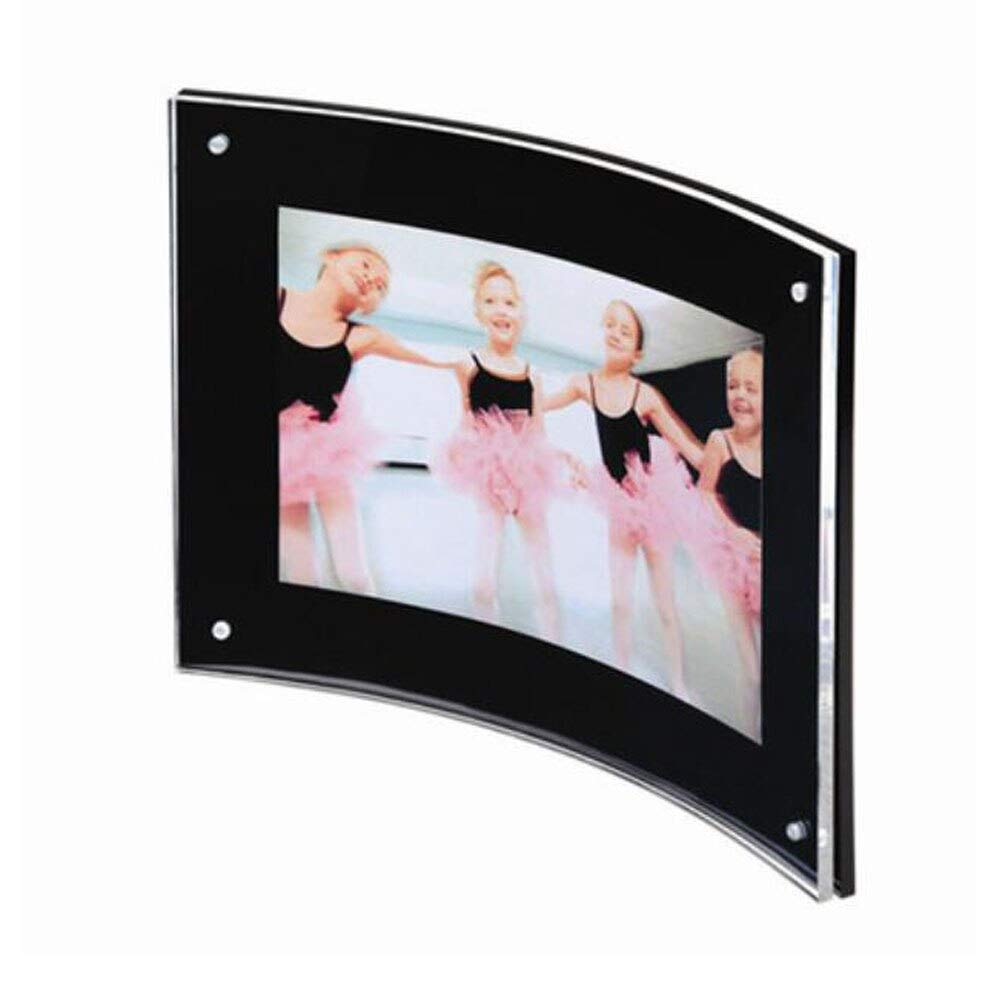 Glass figurines Picture Frame - 4''x6'' Curved Sign Holder,Acrylic Photo Frame with Magnetic for Document Poster,Diploma,Certificate,Landscape PF034-2