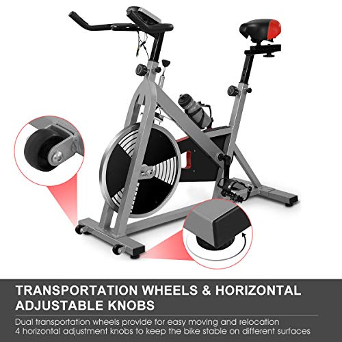 Goplus Indoor Stationary Bicycle with 40lbs 4-Position Display, Exercise for Home Use